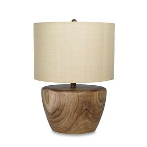 Cream color light table lamp in wooden pot base