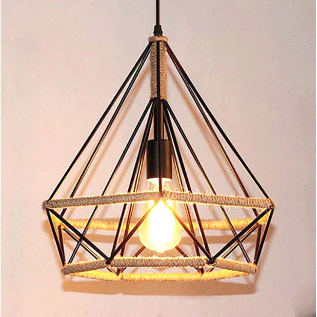Metal made hanging rustic lamp with one bulb