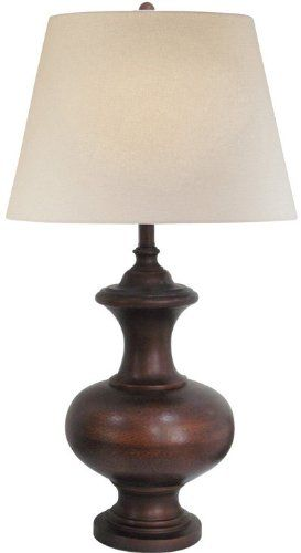 White table lamp in brown brown rounded wooden style base