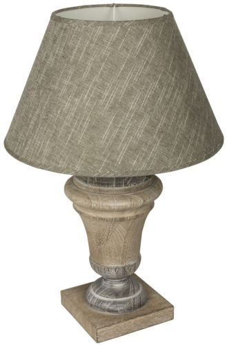 Grey table lamp with a strong flat wooden base