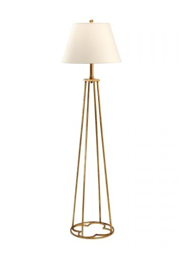 Wooden floor lamp with unique design in cream color