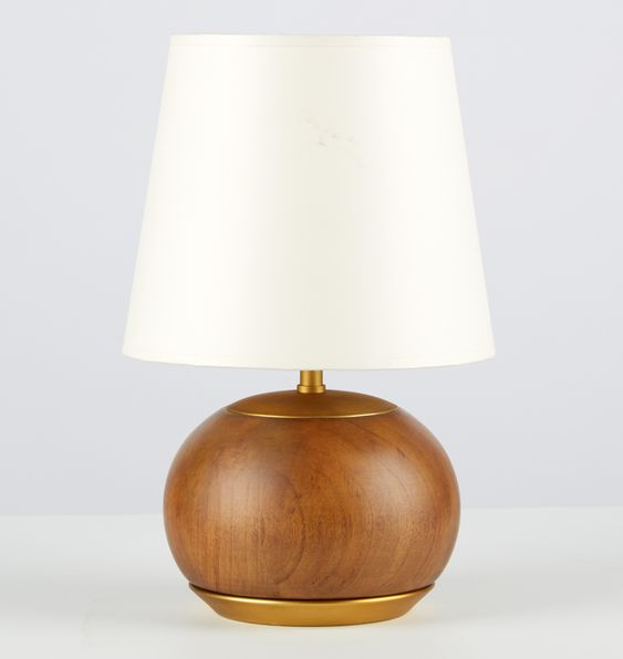 White light table lamp with rounded wooden base
