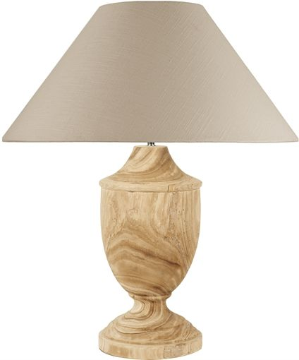 Light brown shade wooden base table lamp
