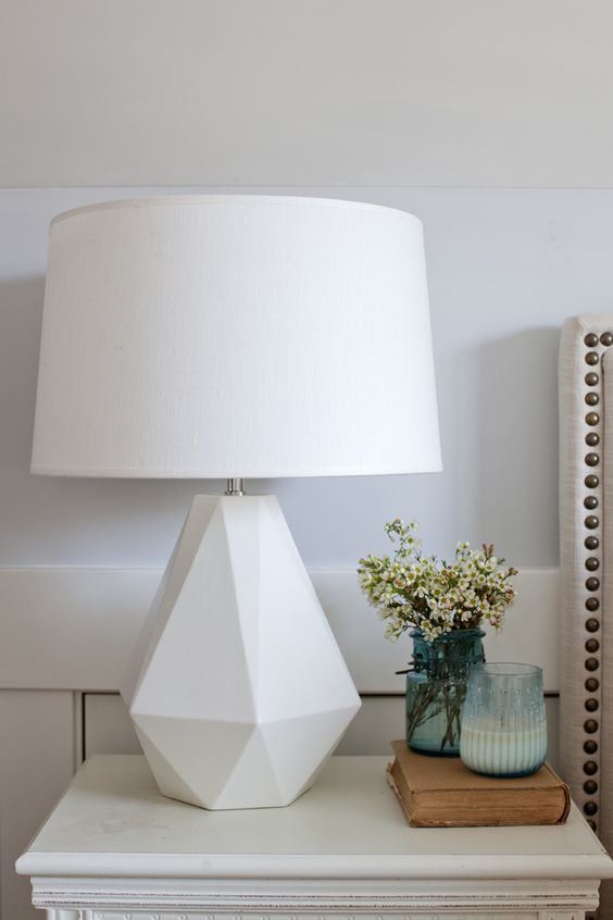 White table lamp in creative base shape