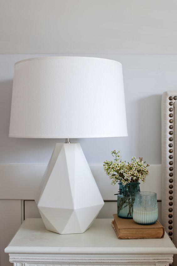White table lamp in creative base shape