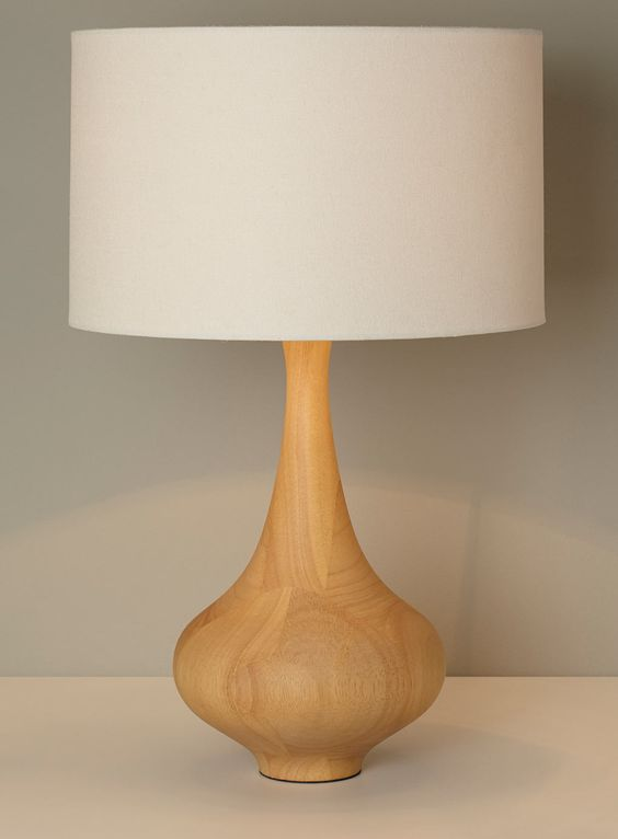 light beige lamp with wooden base