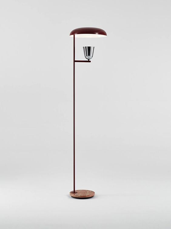 Simple stick shape brown shade wooden floor lamp