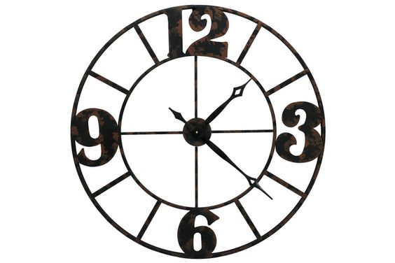 Brown shaded four large number wall clock