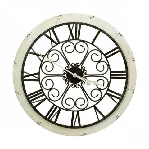 Rounded white border black numbers wall clock