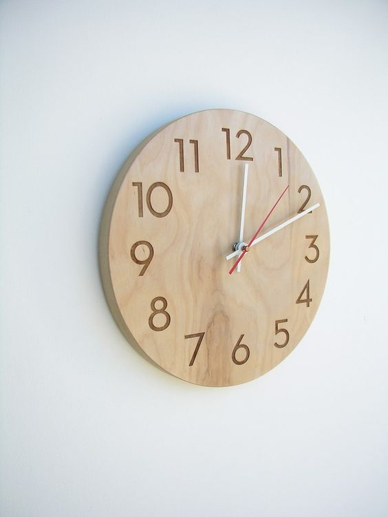 Circle shape wooden wall clock in light shades