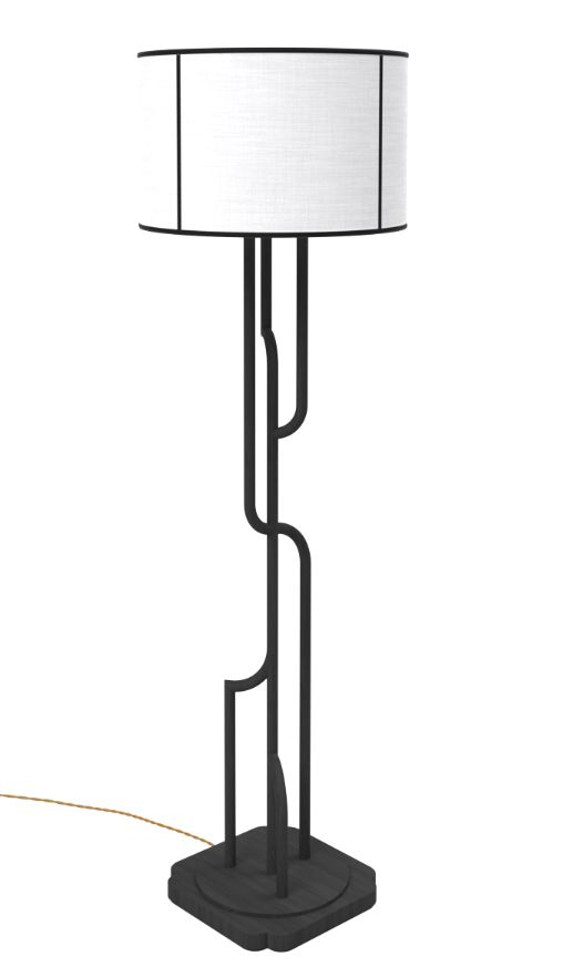 Unique black and white floor lamp with metal base