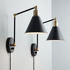 Set of two black wall lamp with flexible pipes