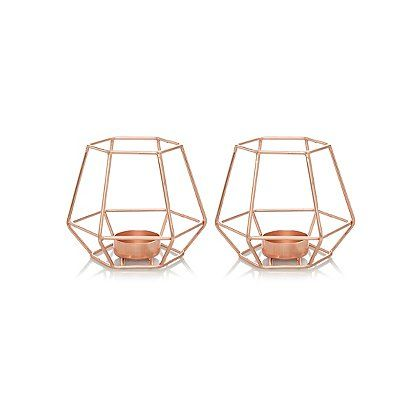 Set of two rose gold colour candle light holder