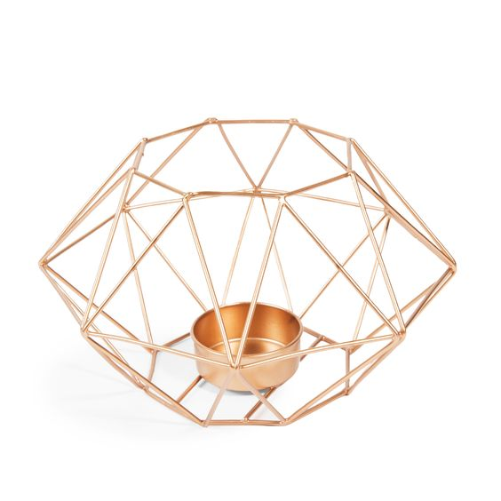 Copper geometric shape candle light holder