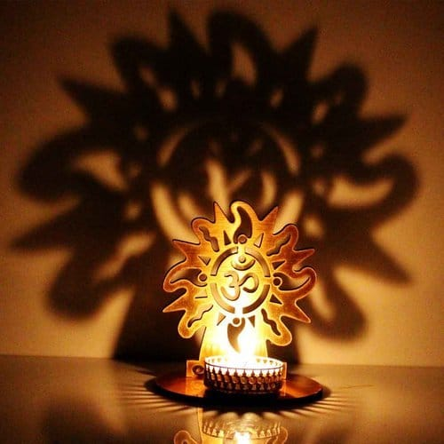Spiritual om shape diya holder made with brass