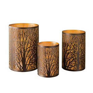 Set of three laser-cut candle holders made with bronze