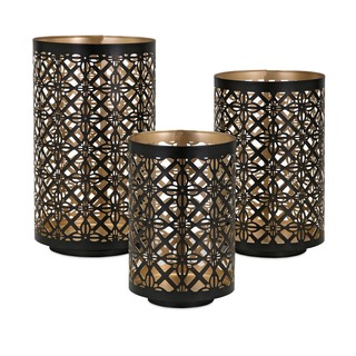 Set of three black pierced lanterns with gold finishing