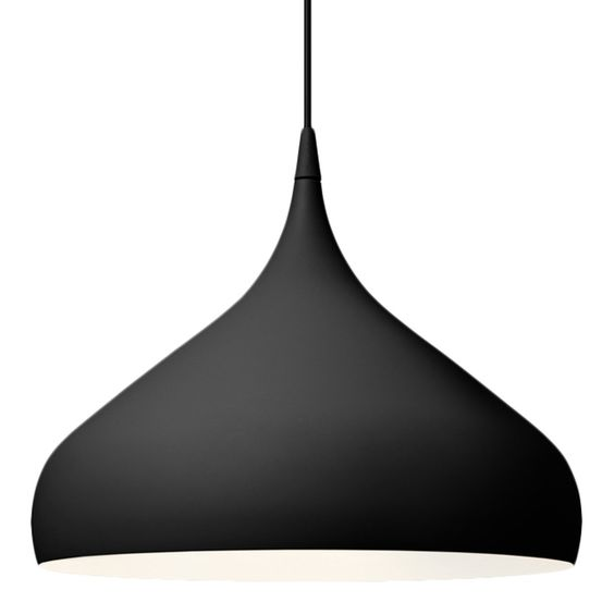 Black hanging light made with aluminium