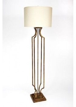 Champagne gold linen shaded iron made floor lamp