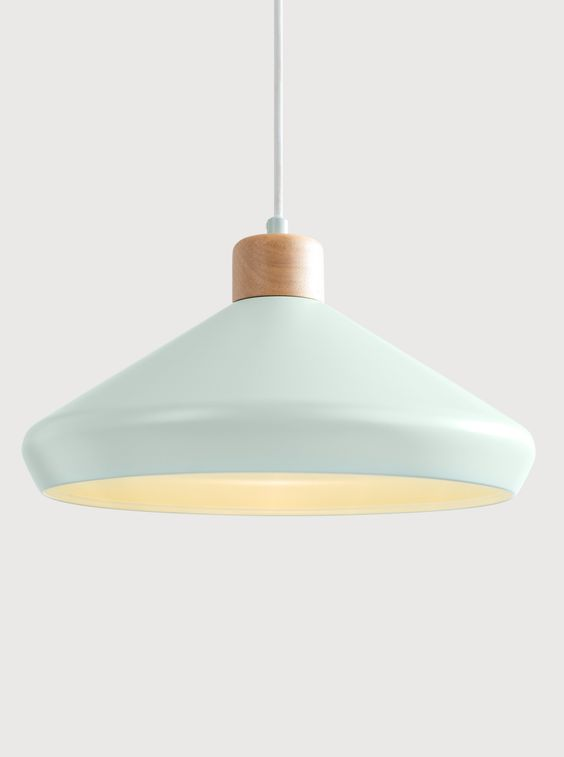 Sky blue shaded hanging lamp in simple design
