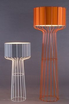 Set of two floor lamp in purple and orange shade