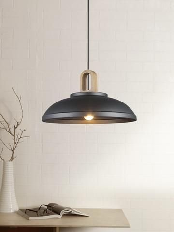 Black hanging lamp with metal finishing for study table