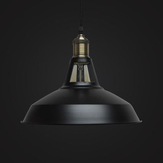 Black hanging lamp with metal finishing