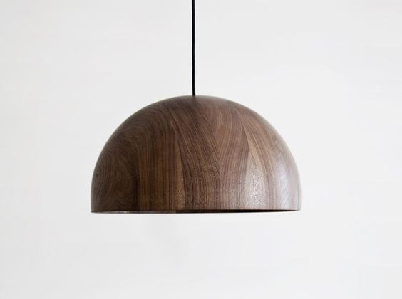 Dark brown wooden hanging lamp with black wire
