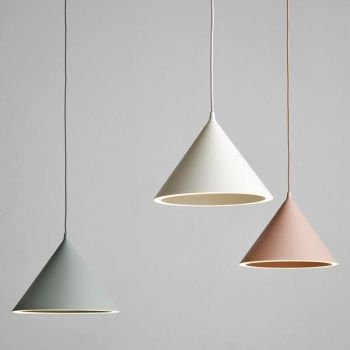 Grey, white and beige hanging lamp with slim wire