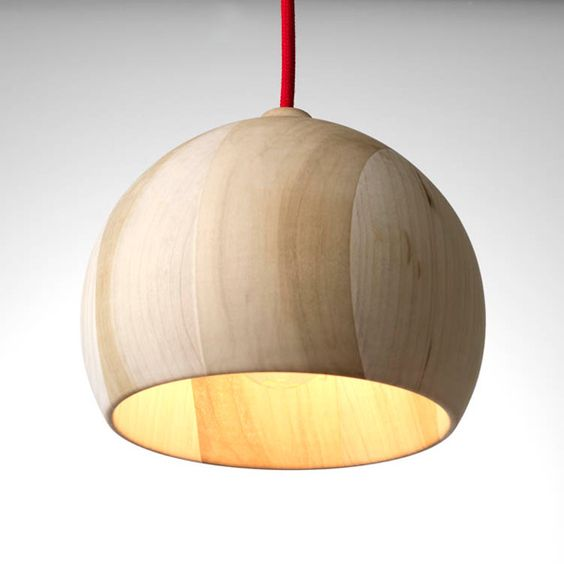 Red wire hanging wooden lamp for ambient lighting
