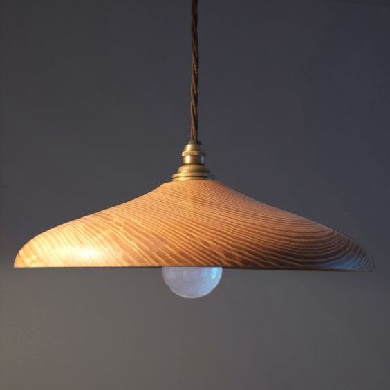 Hanging wooden lamp with single white bulb